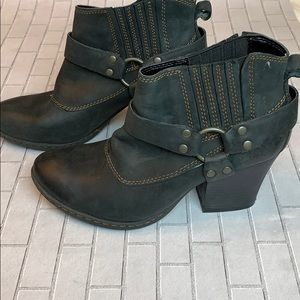 Born BOC Black Leather Moto Harness Ankle Boots